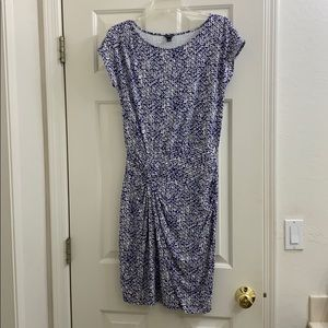 Ann Taylor stretch blue white geo dress XS/S